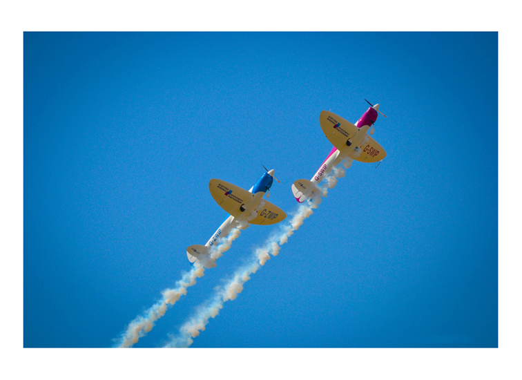 Precision Display. Peter Wells and Guy Westgate displaying the Scottish Widows Silence Twister aircraft