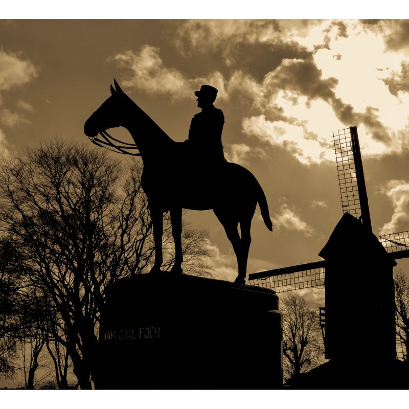 Sentinel. The statue of Marshal Foch, Commander-in-Chief of the French army in the First World War, stands high on a hill at Cassel, overlooking the Flanders killing fields. During the war Foch often rode to this spot to view the progress of the battles below.